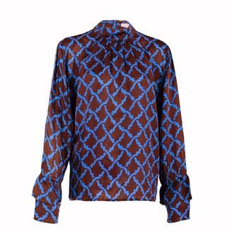 Asneh Brown Satin Silk Kate Blouse With Blue Print