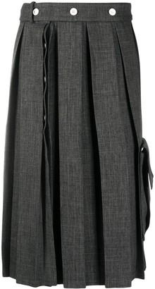 Plan C Button Pleated Skirt