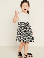 Old Navy Fit & Flare Mixed-Fabric Dress for Toddler Girls
