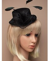 Inca Black Fascinator on Headband/ Clip-in for Weddings, Races and Occasions-5543