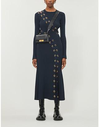 Alexander McQueen Eyelet-embellished stretch-knit maxi dress