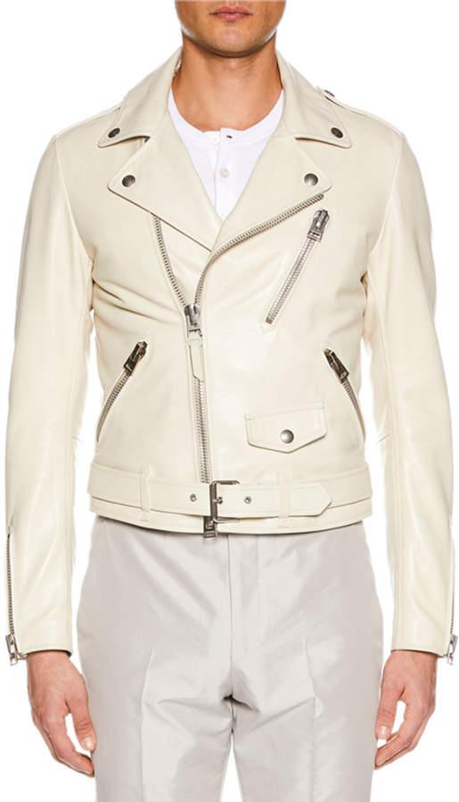 f03b10930 Men's Asymmetric-Zip Leather Biker Jacket