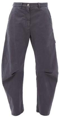 Nili Lotan Carpenter Pleated Cropped-leg Jeans - Navy