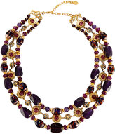 Jose & Maria Barrera Triple-Row Agate & Glass Beaded Collar Necklace