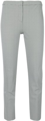 Theory Houndstooth Print Cropped Skinny Trousers