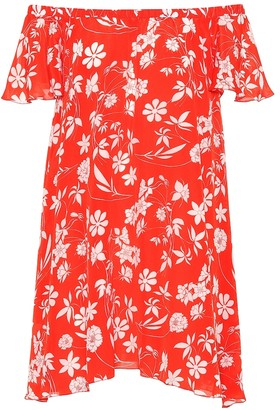 Floral-printed silk minidress