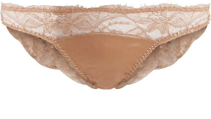 Fleur of England Caramel sheer-lace and satin briefs
