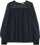 Nina Ricci Silk-satin and georgette blouse
