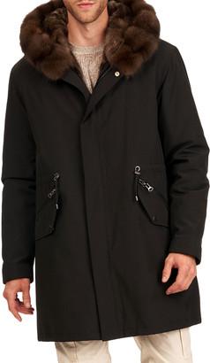 Gorski Men's Sable Fur Trim Parka Coat