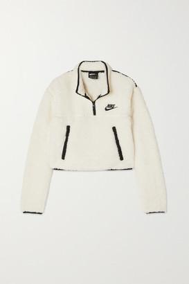Nike Cropped Jersey-trimmed Fleece Sweatshirt - Ivory