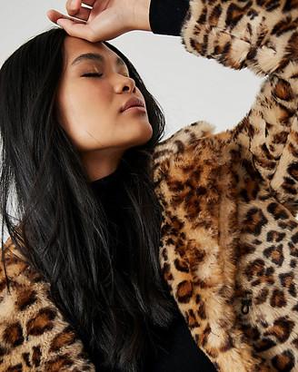 Le Château Leopard Print Faux Fur Open-Front Coat