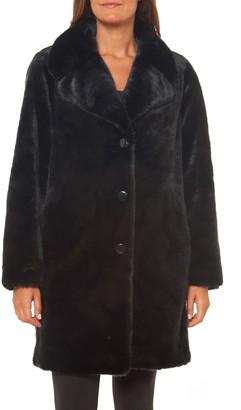 Kate Spade Faux Fur Button Front Coat