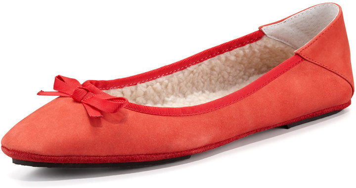 Jacques Levine Inslee Bow Faux-Shearling Slipper