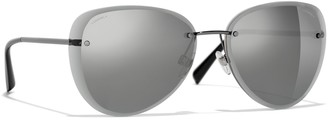 Chanel Pilot Sunglasses CH4239 Silver/Mirror Grey
