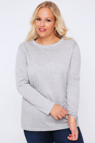 Yours Clothing Grey Marl Long Sleeve Sweat Top