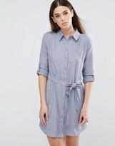 AX Paris Tie Waist Shirt Dress - Chambray