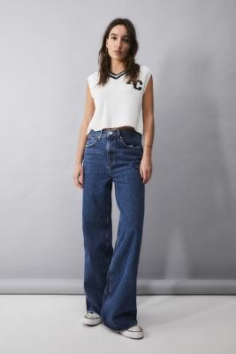 BDG Dark Vintage-Wash Wide-Leg Puddle Jeans - Blue 24W 30L at Urban Outfitters