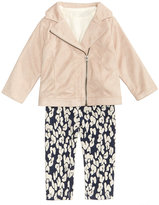 First Impressions 3-Pc. Faux-Suede Jacket, T-Shirt and Leggings Set, Baby Girls (0-24 months), Created for Macy's