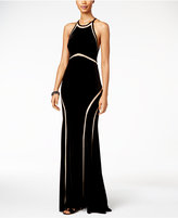 Xscape Evenings Velvet Illusion Cutout Gown