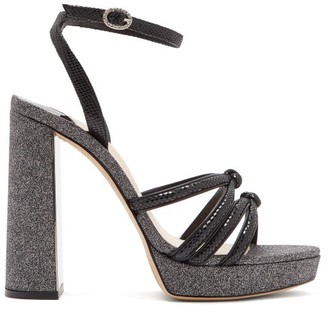 Sophia Webster Freya Suede And Glitter Platform Sandals - Black