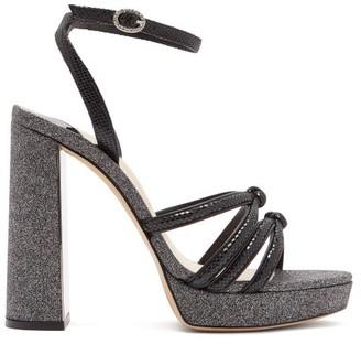 Sophia Webster Freya Suede And Glitter Platform Sandals - Womens - Black