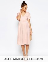 Asos Midi Dress With Flutter Sleeve