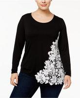 INC International Concepts Plus Size Lace Appliqué Top, Only at Macy's