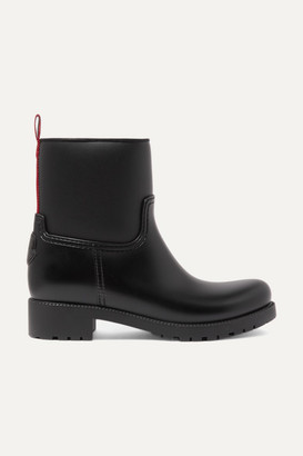 Moncler Ginette Grosgrain-trimmed Rubber Rain Boots - Black