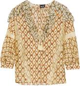 Just Cavalli Lace-trimmed floral-print silk-gauze blouse
