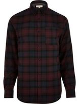 River Island MensDark purple check flannel shirt