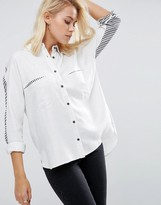 Asos Oversized Shirt with Contrast Blocked Stripe