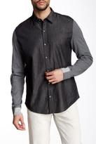 DKNY Long Knit Sleeve Chambray Regular Fit Shirt