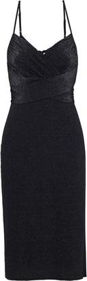 Halston Ruched Metallic Stretch-knit Dress