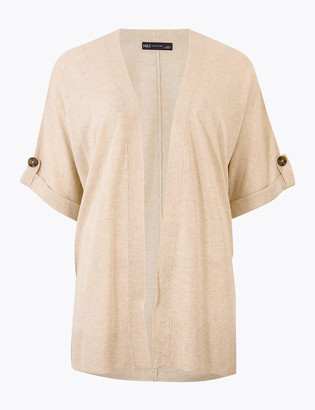 Marks and Spencer Short Sleeve Relaxed Cardigan with Linen