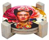 Four Round Decoupage Pinewood Mexican Frida Kahlo Coasters, 'Frida's Gaze'