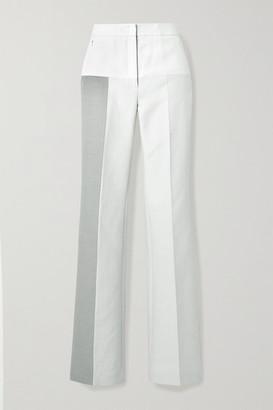 Akris Farida Paneled Cotton-blend Twill Straight-leg Pants - Light gray