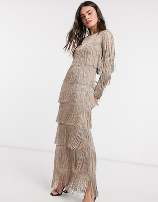 ASOS DESIGN long-sleeved fringe column maxi dress in stone