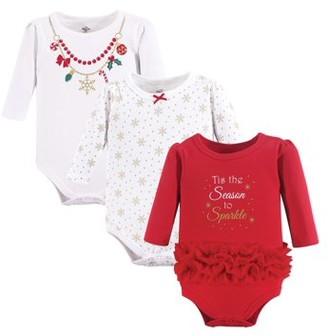 Little Treasures Little Treasure Baby Girl Holiday Long Sleeve Bodysuits, 3-pack