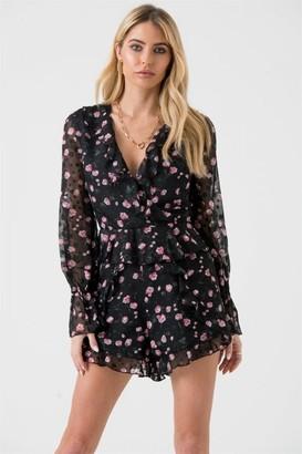 LIENA Sheer Sleeves Playsuit in Black Pink Floral Print