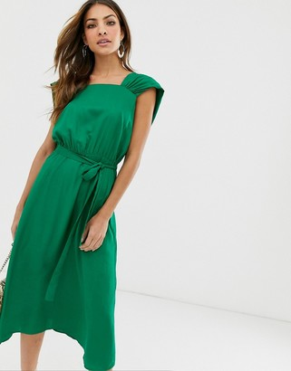 Y.A.S square neck midi dress with low drape back-Green
