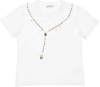 Dolce & Gabbana PRINTED COTTON JERSEY T-SHIRT W/APPLIQUE