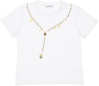 Dolce & Gabbana Printed Cotton Jersey T-Shirt W/Applique