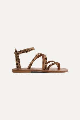K Jacques St Tropez Epicure Leopard-print Calf Hair Sandals