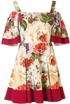 Dolce & Gabbana Short Floral Print Charmeuse Dress