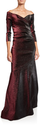 Theia Off-the-Shoulder Metallic Stretch Gown