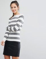 Only Hi Neck Stripe Knit Sweater