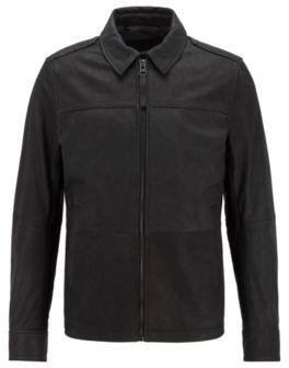 HUGO BOSS Goat-leather jacket with denim-effect lining