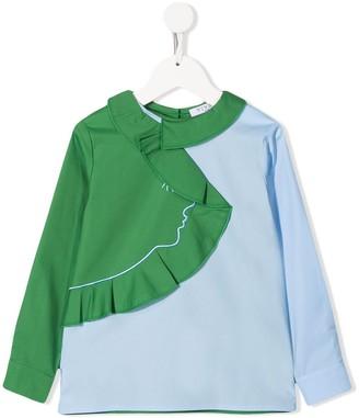 Vivetta Kids Abstract Ruffle Trim Shirt