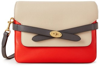 Mulberry Belted Bayswater Satchel Coral Orange, Chalk and Black Silky Calf