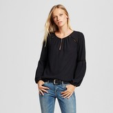 Women's Peasant Blouse with Ladder Lace - Mossimo